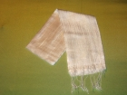 Silketørklæde . Råhvid